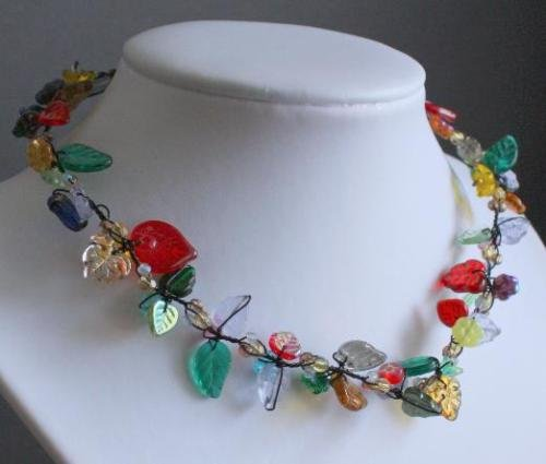 Unique Vintage Czech Glass Leaf Necklace