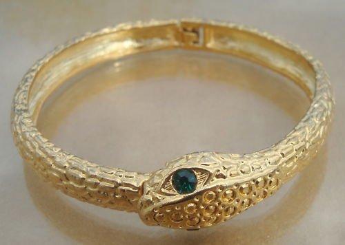 Vintage Gold Tone Snake Green Eye Hinged Bracelet