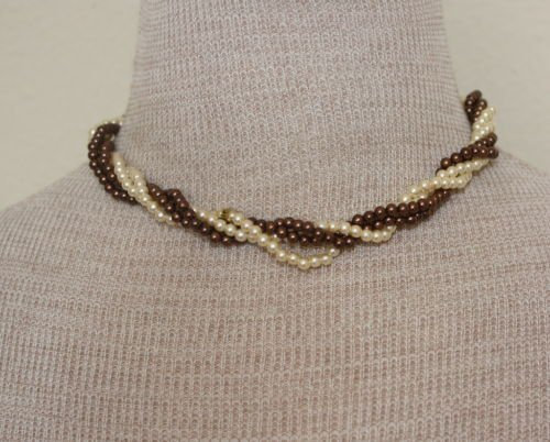 Vintage Brown & Cream Pearl Twisted / Torsade Necklace