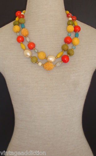 Vibrant Vintage Colorful Multi Strands Fancy Necklace