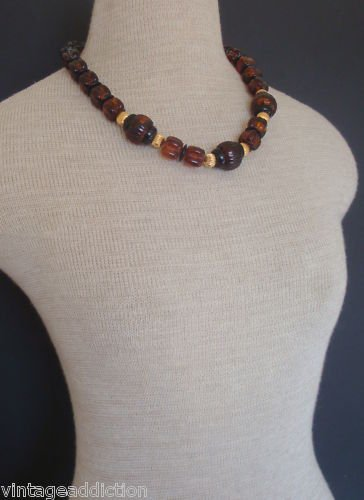 Vintage Chunky & Bold Brown Amber Art Deco Necklace