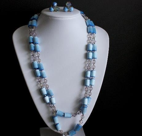 Vintage Blue Multi Strands Necklace Earrings Set Japan