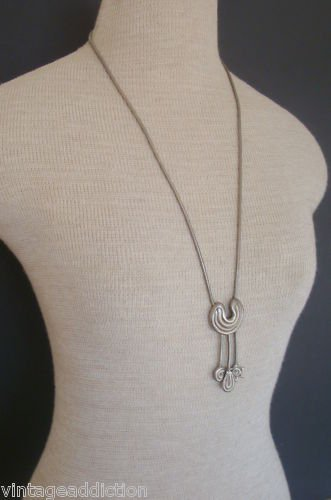 "Outstanding Vintage Pewter 27"" Long  Cute Necklace"