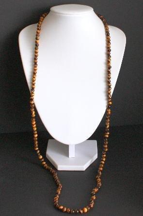 "Vintage Tiger's Eye Long Strand Necklace 40"" On 14K"