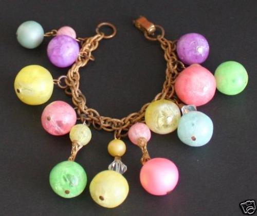 Vintage Crystal Glass Multi Color Charm Bracelet