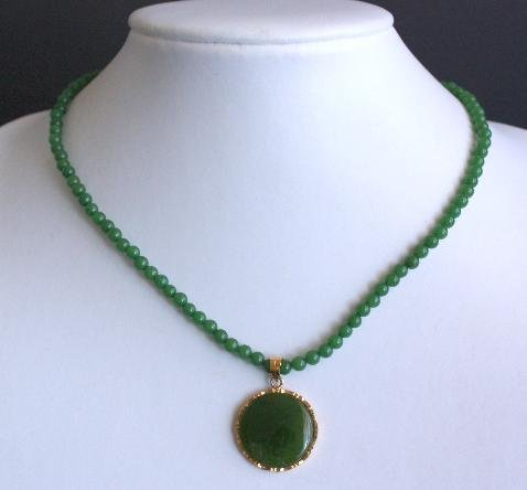 Vintage Green Jade Stone Necklace/Pendant
