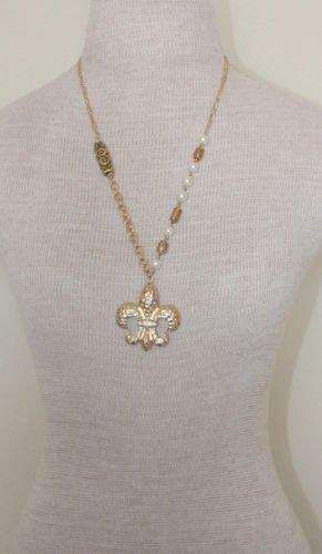 Vintage Pearl Fleur De Lis Pendant Chain Necklace