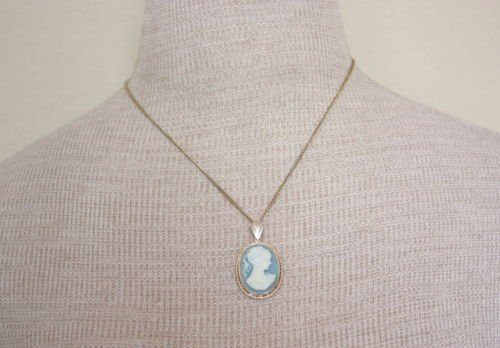 Vintage Sterling Silver Cameo Pendant Chain Necklace