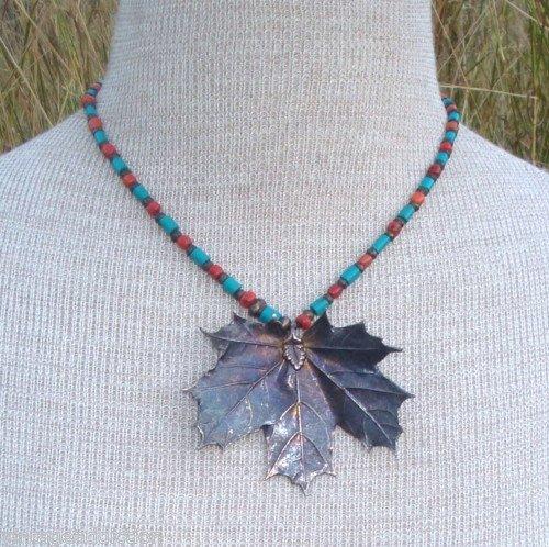 Vintage Southwestern Turquoise & Coral Pendant Necklace