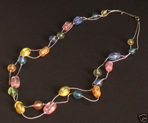 Vintage Colorful Art Glass Multiple Strands Necklace