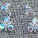 Vintage Aurora Borealis Rhinestone Dangle Earrings