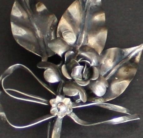 Vintage Art Deco Sterling Silver Large Flower Brooch