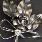 Vintage Art Deco Sterling Silver Large Flower Brooch