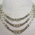 Vintage White Pearl & RhinestoneTiered Bib Necklace