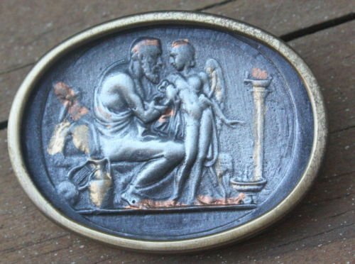 Unique Pewter Cameo Pin Brooch