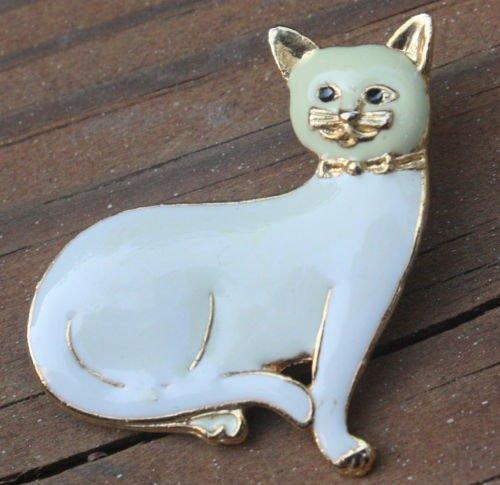 Super Cute Vintage Enamel Cat Pin Brooch