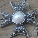 Vintage Signed JF Gray Pearl Maltese Cross Pin Brooch