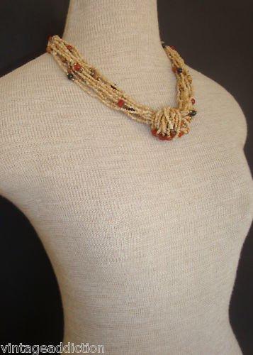 Vintage Art Deco Stone Agate Torsade  Chunky Necklace