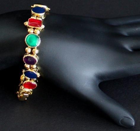 Vintage Vibrant Red Green Blue Black Glass Bracelet