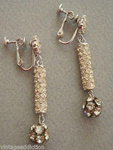 Vintage Rhinestones Ball Long Drop Earrings Pat.Pending