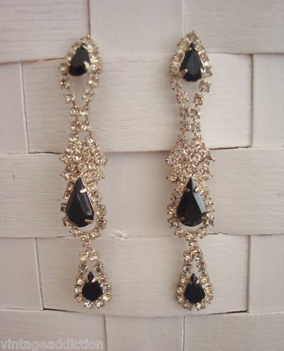 Vintage Black Glass White Rinestones Long  Earrings