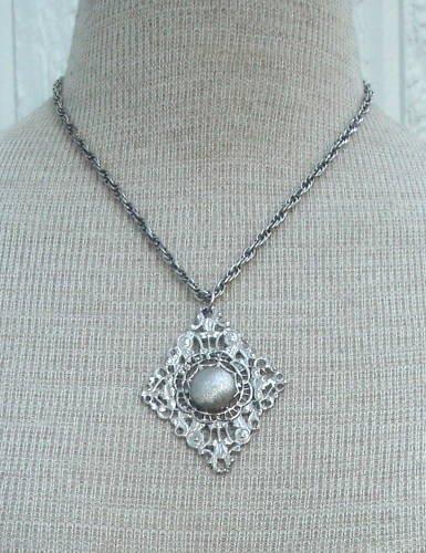 Vintage Silver Celebrity NY Chunky Pendant Necklace