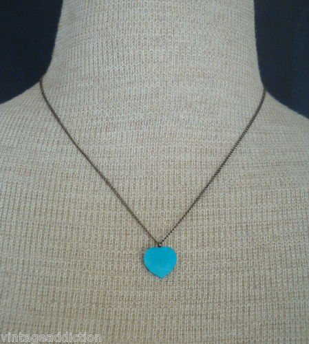 Vintage Blue Turqoise Stone Heart Pendant Necklace