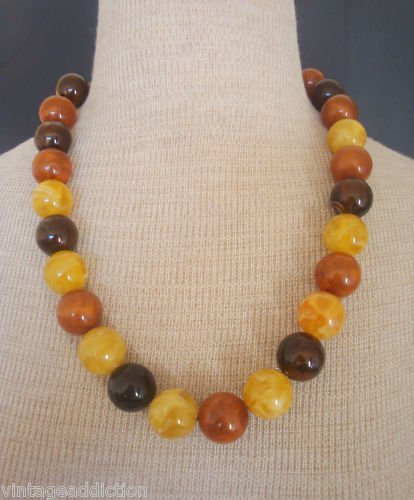 Vintage Butterscotch  Early Plastic Chunky Necklace