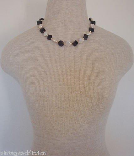 Unique Vintage Black Glass &  White Peearl Necklace