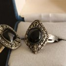 Vintage His&Her  Black Onyx  Rings Adjustable Unique