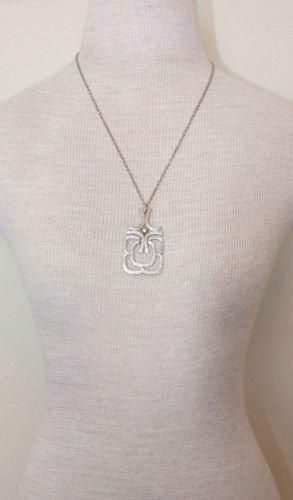 Vintage Avon Silver Modernist Pendant Chain Necklace