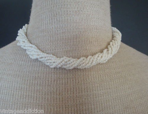 Charming Vintage Trifari Twisted White Bead  Necklace