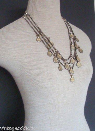 Vintage Antique Art Deco Coin Bib Statement Necklace