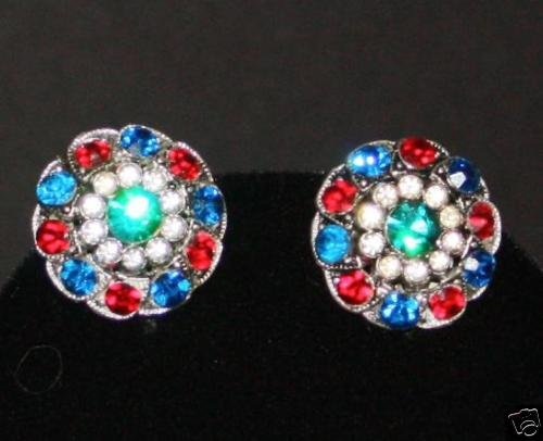 Vintage Vibrant Red Blue Green Rhinestone Clip Earrings