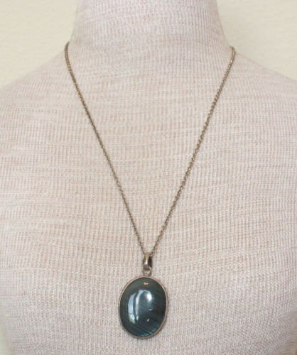 Vintage Dark Green Chunky Glass Pendant Chain Necklace
