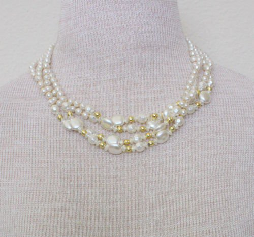 Vintage Four Tiered White Faux Pearl Necklace