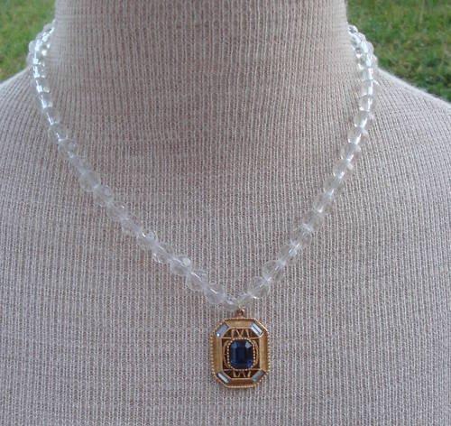 Vintage Victorian Revival White Glass Pendant Necklace