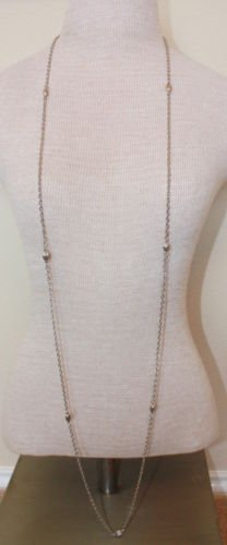 "Charming Vintage Silver Tone 59"" Long Chain Necklace"
