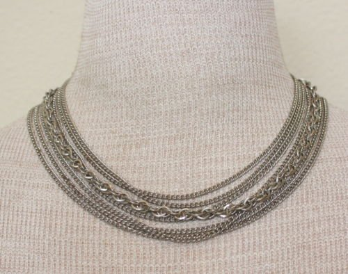 Vintage Silver Tone Multichain / Tiered Necklace