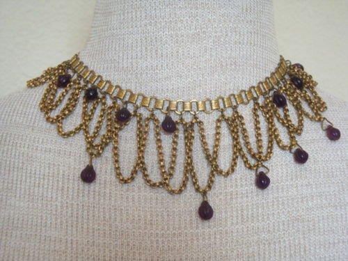 Vintage Victorian Book Chain Bib  Necklace
