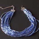Vintage Blue Cylindrical Glass Multi Layer Necklace