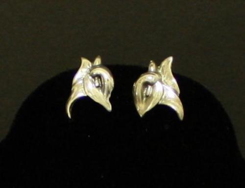 Vintage Deco Sterling Silver Screw Back Earrings 925