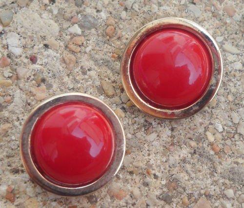 Vintage Bergere Red Enamel Button Earrings