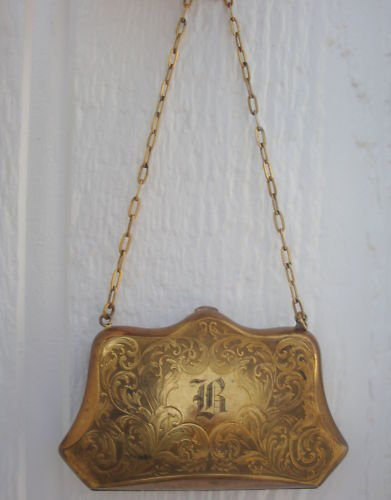 Antique Gold Filled Compact Purse With Chain