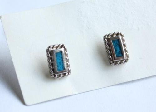 Vintage Rectangular South Western Pierced Earrings