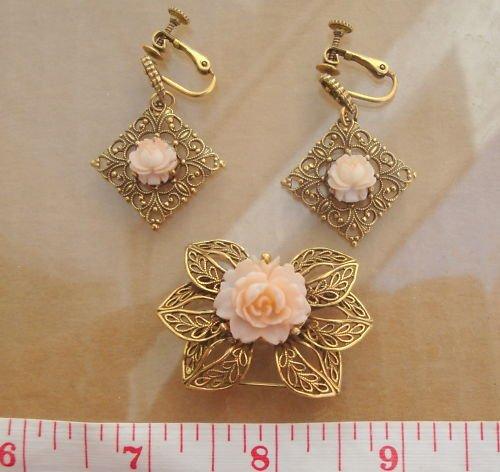 Vintage Celluloid Rose Earrings & Pin/ Brooch Set