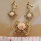 Vintage Celluloid Rose Earrings & Pin/ Brooch Set