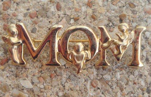 Unique Vintage Gold Tone MOM Pin Brooch
