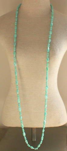 "Vintage Green Long Strand Necklace 58"""