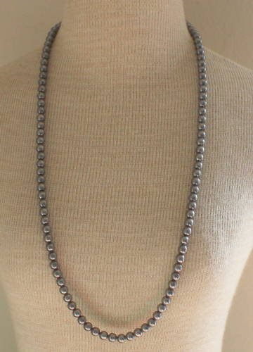 Vintage Art Deco Gray Faux Pear Long Strand Necklace